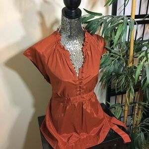APT. 9 Burnt Orange blouse with tied waist